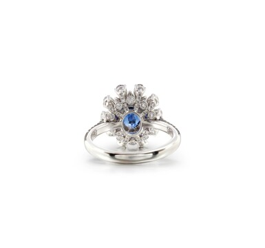 View 3. Thumbnail of Lot 62. SAPPHIRE AND DIAMOND RING.