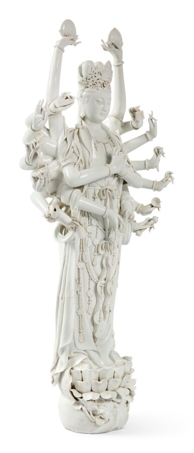 View 2. Thumbnail of Lot 1149.  A VERY LARGE 'DEHUA' FIGURE OF MULTI-ARM GUANYIN, 19TH / 20TH CENTURY.