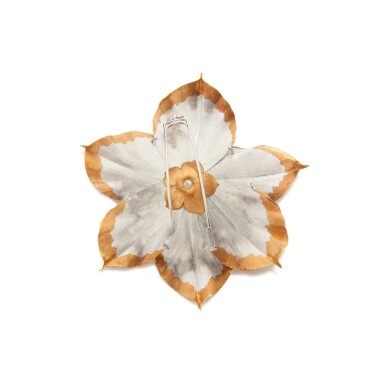 View 3. Thumbnail of Lot 168. Three-Color Gold and Diamond Clip-Brooch.