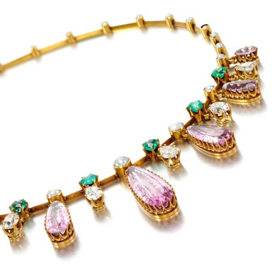 View 1. Thumbnail of Lot 29. Pink topaz, emerald, pearl and diamond necklace, late 19th century.