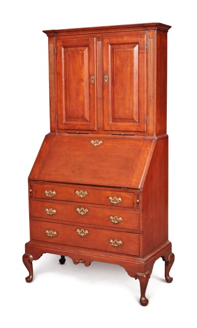 Fine and Rare Diminutive Chippendale Inlaid Cherrywood and Butternut Slant-Front Desk-and-Bookcase on Frame, probably Hartford County, Connecticut or Hampshire County, Massachusetts, circa 1785