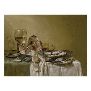 A banquet piece with an overturned tazza and oysters