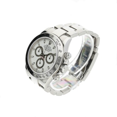 View 3. Thumbnail of Lot 451. ROLEX   REFERENCE 116520 DAYTONA   A STAINLESS STEEL AUTOMATIC CHRONOGRAPH WRISTWATCH WITH REGISTERS AND BRACELET, CIRCA 2000.
