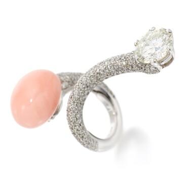View 2. Thumbnail of Lot 71. PETOCHI | CORAL AND DIAMOND RING   (ANELLO CON CORALLO E DIAMANTI).