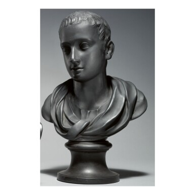 A WEDGWOOD AND BENTLEY BLACK BASALT BUST OF THE POET HORACE CIRCA 1775