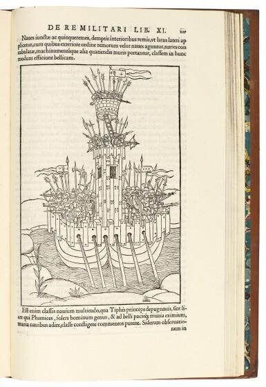 View 3. Thumbnail of Lot 443. Valturio, De re militari, Paris, 1532, modern calf gilt.