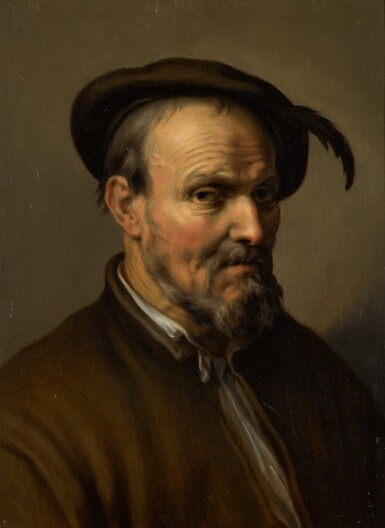 ABRAHAM BLOEMAERT | Portraitof an old man, half-length, wearing a hat with a feather