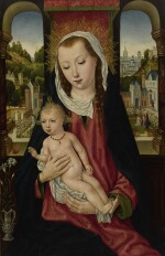 MASTER OF THE BRUGES LEGEND OF SAINT URSULA, CIRCA 1480-1485 | MADONNA AND CHILD, HALF LENGTH, WITH AN EXTENSIVE LANDSCAPE SEEN THROUGH TWO WINDOWS BEYOND