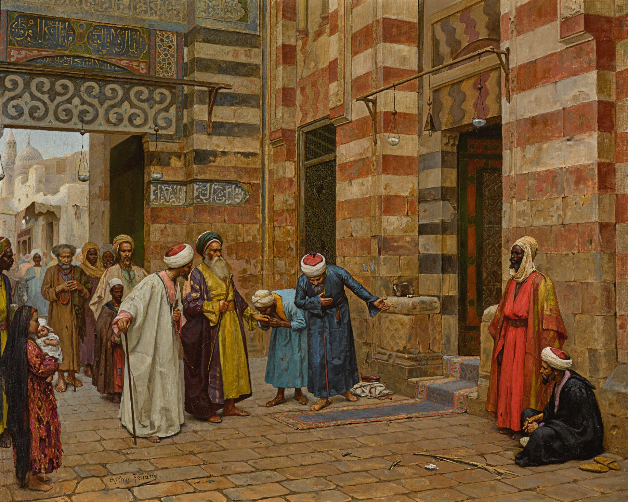 View full screen - View 1 of Lot 19. ARTHUR VON FERRARIS | ARRIVING AT THE MOSQUE.