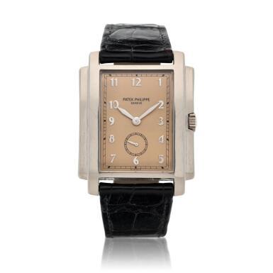 View 1. Thumbnail of Lot 141. Reference 5024 Gondolo  A white gold rectangular wristwatch, Circa 2001 .