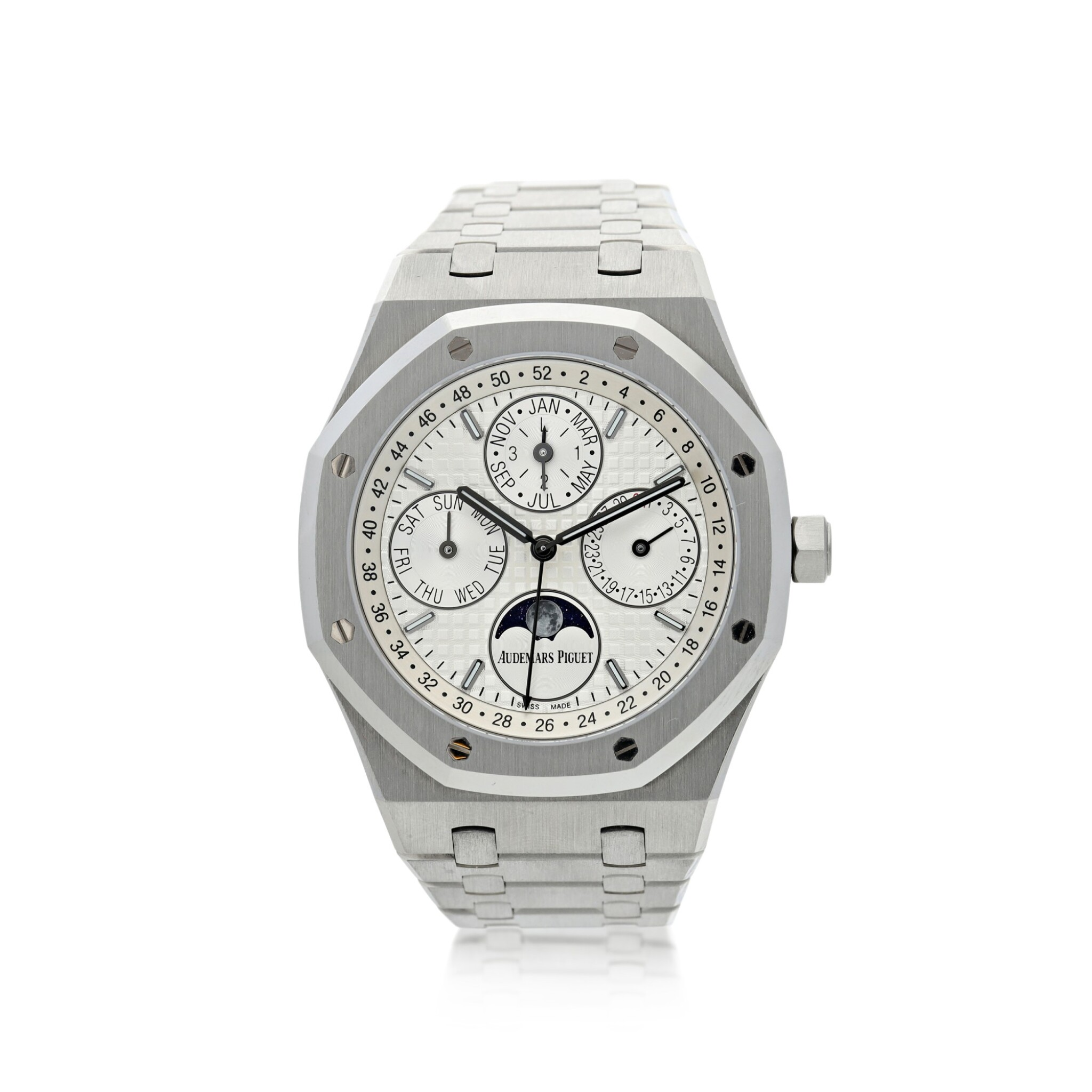 View full screen - View 1 of Lot 9. AUDEMARS PIGUET | REFERENCE 26574ST.00.1220ST.01 ROYAL OAK   A STAINLESS STEEL AUTOMATIC PERPETUAL CALENDAR WRISTWATCH WITH MOON PHASES AND BRACELET, CIRCA 2018.