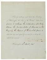 "POLK, JAMES K. | Partially engraved document signed (""James K. Polk"") as 11th President, being an order to Secretary of State James Buchanan to affix the Seal of the United States"