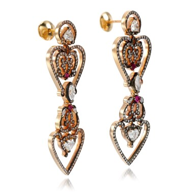 View 2. Thumbnail of Lot 18. Pair of ruby and diamond earrings.
