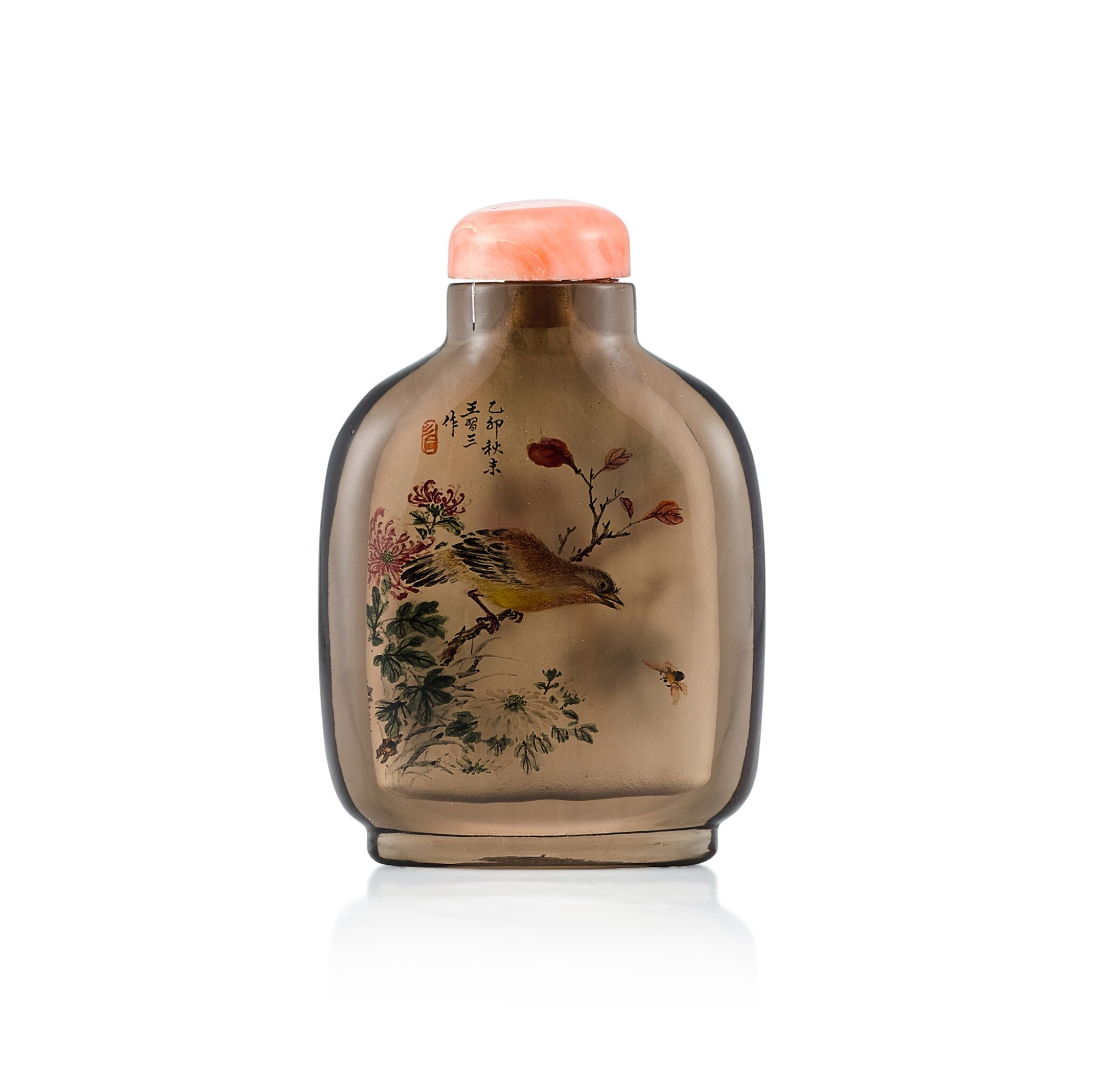 View full screen - View 1 of Lot 3041. An Inside-Painted Rock-Crystal 'Birds and Flowers' Snuff Bottle By Wang Xisan, Dated Yimao Year, Corresponding to 1975 | 丁卯(1975年) 王習三作水晶內畫花鳥圖鼻煙壺 《丁卯秋末王習三作》款.