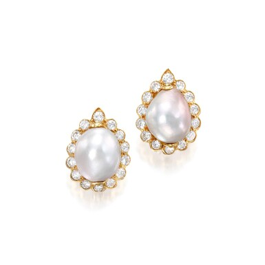 View 1. Thumbnail of Lot 69. Van Cleef & Arpels   Pair of Natural Pearl and Diamond Earclips.