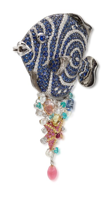 View 2. Thumbnail of Lot 1608. GEM SET, CONCH PEARL, CULTURED PEARL AND DIAMOND BROOCH | 寶石, 海螺珠 配 養殖珍珠 及 鑽石 別針.