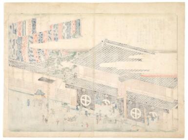 View 2. Thumbnail of Lot 12. Utagawa Hiroshige (1797-1858) Arimatsu Tie-dyed Cloth at the Takeya Sahei Storefront (Arimatsu shibori Takeya Sahei misesaki), Edo period, 19th century.