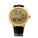 GÉRALD GENTA   REFERENCE 3634  A YELLOW GOLD AUTOMATIC JUMP HOUR WRISTWATCH WITH RETROGRADE MINUTES, CIRCA 2005
