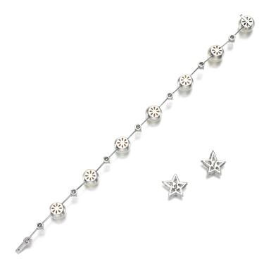 View 3. Thumbnail of Lot 106. Diamond earrings || Cultured pearl and diamond bracelet.