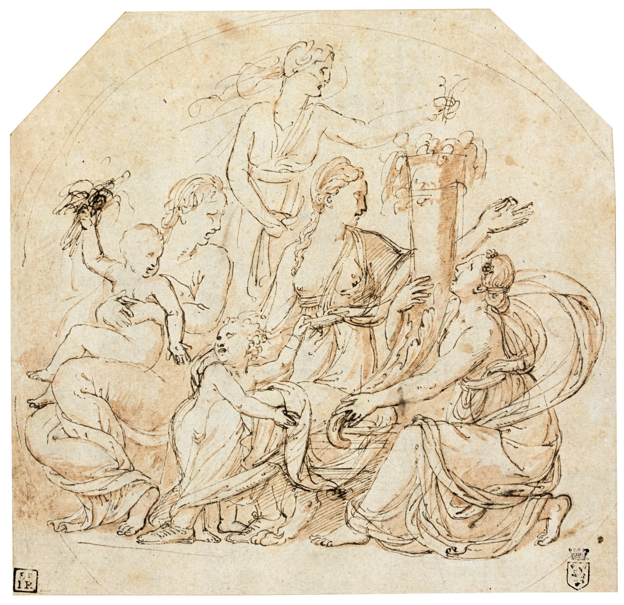 View full screen - View 1 of Lot 9. An Allegory of Abundance in a drawn circle.