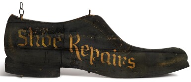 PAINTED AND STENCILED WOODEN COBBLER'S TRADE SIGN, CIRCA 1920