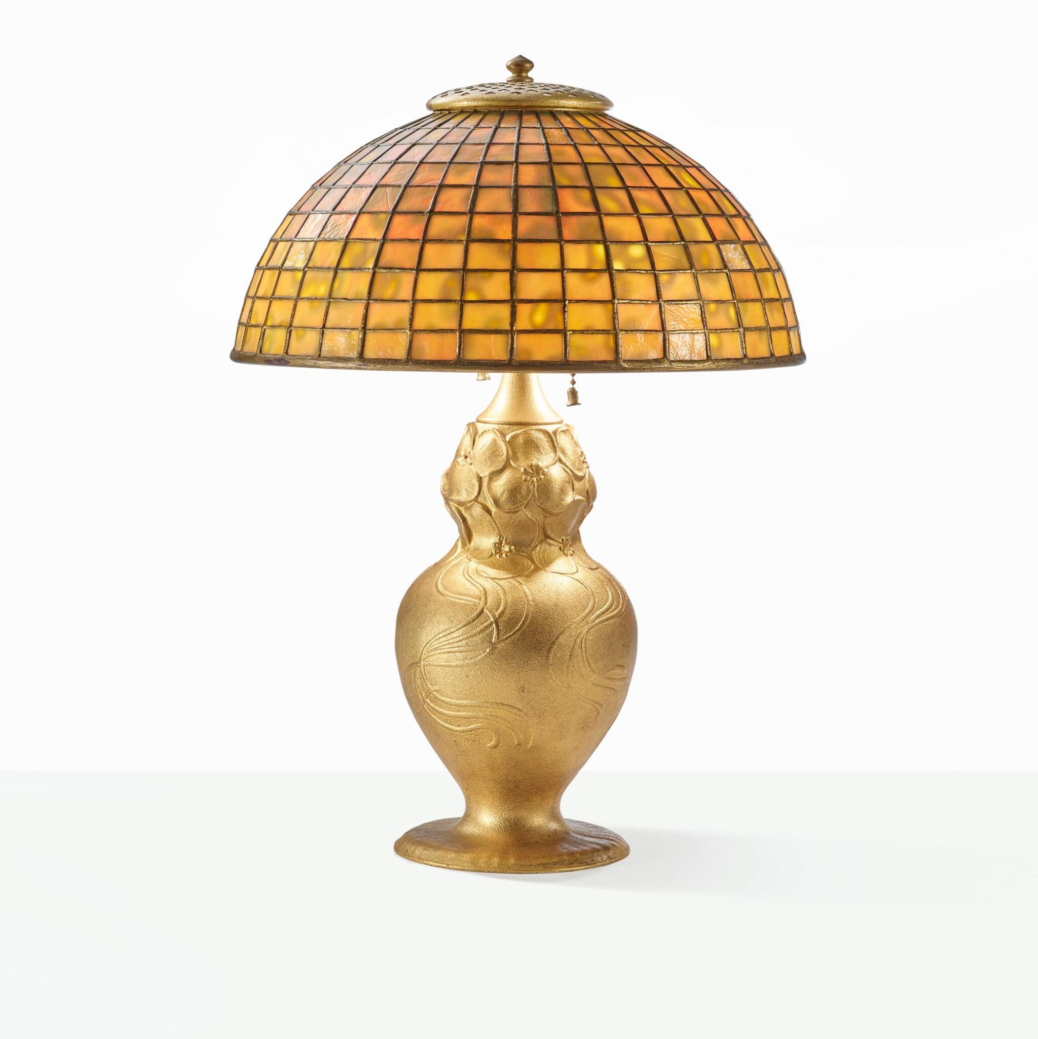 "View full screen - View 1 of Lot 23. TIFFANY STUDIOS | ""GEOMETRIC"" TABLE LAMP."