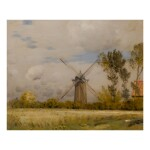 JEAN CHARLES CAZIN | A WINDMILL IN AN EARLY AUTUMN LANDSCAPE
