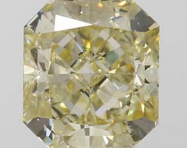 A 1.05 Carat Fancy Yellow Cut-Cornered Rectangular Modified Brilliant-Cut Diamond, SI1 Clarity