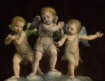 BERNARDINO LUINI | THREE PUTTI STANDING ATOP CLOUDS, GAZING DOWNWARD IN ADORATION