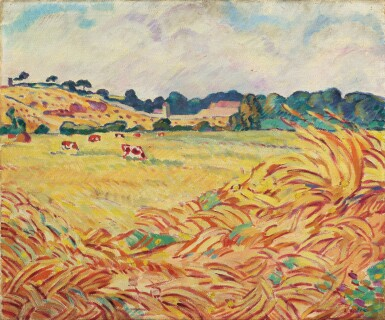 View 1. Thumbnail of Lot 258. Vaches dans un champ en Normandie.