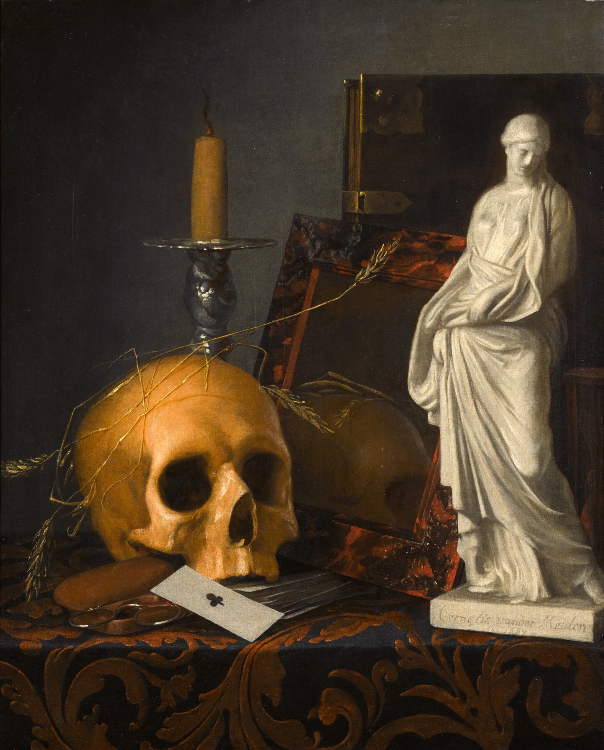 View full screen - View 1 of Lot 287. CORNELIS VAN DER MEULEN | VANITAS STILL LIFE WITH A SKULL, A GUTTERING CANDLE, A TORTOISESHELL MIRROR, A BOOK, A STATUETTE OF SAINT SUSANNA, AND A PACK OF CARDS.