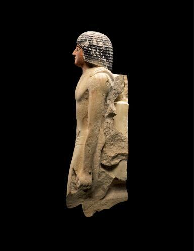 View 3. Thumbnail of Lot 267. AN EGYPTIAN LIMESTONE FIGURE OF A MAN,  5TH DYNASTY, 2520-2360 B.C..