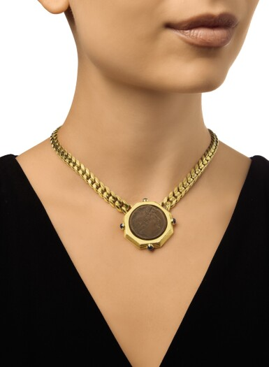 View 2. Thumbnail of Lot 426. GOLD, ANTIQUE COIN AND SAPPHIRE 'MONETE' NECKLACE, BULGARI.