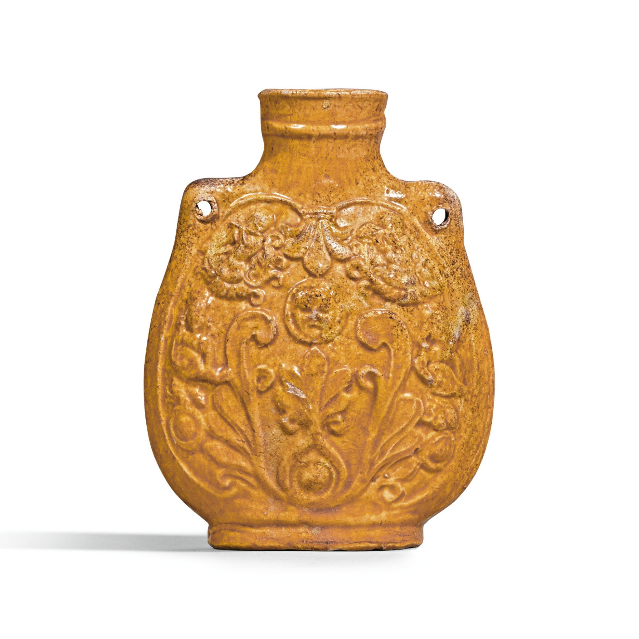View full screen - View 1 of Lot 208. A RARE AMBER-GLAZED 'MUSICIANS' FLASK NORTHERN QI DYNASTY | 北齊 黃釉樂舞圖扁壺.