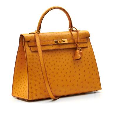 View 2. Thumbnail of Lot 315. Saffron Sellier Kelly 35 in Ostrich Leather with Gold Hardware, 1996.