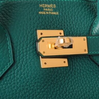 Hermès Malachite Birkin 35cm of Togo Leather with Gold Hardware