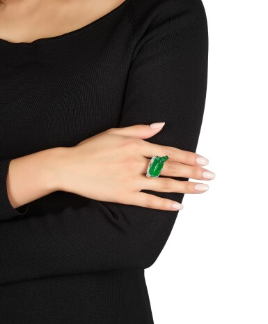 View 4. Thumbnail of Lot 1629. Jadeite and Diamond 'Lucky Ox' Ring | 天然翡翠 配 鑽石 【牛氣沖天】戒指.