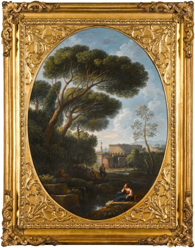 View 4. Thumbnail of Lot 64. JAN FRANS VAN BLOEMEN, CALLED ORIZZONTE  |  A PAIR OF CAPRICCI DEPICTING COUNTRY SCENES WITH FIGURES.