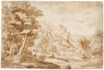 CIRCLE OF JAN VAN SCOREL | RUGGED LANDSCAPE WITH TRAVELLERS BY A RIVER