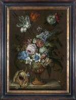 DANIEL VAN BEKE | STILL LIFE WITH ROSES, TULIPS, PRIMULAS, HYACINTHS AND OTHER SPRING FLOWERS IN A VASE ON A MARBLE LEDGE