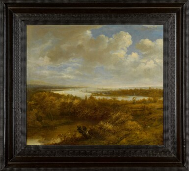 View 2. Thumbnail of Lot 156. Dune landscape with a hunter and his dog, a windmill, and sailing boats on the water in the distance.