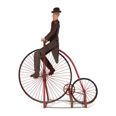 VERY RARE AMERICAN BICYCLE TRADE SIGN OF A MAN RIDING PENNY FARTHING, LATE 19TH CENTURY