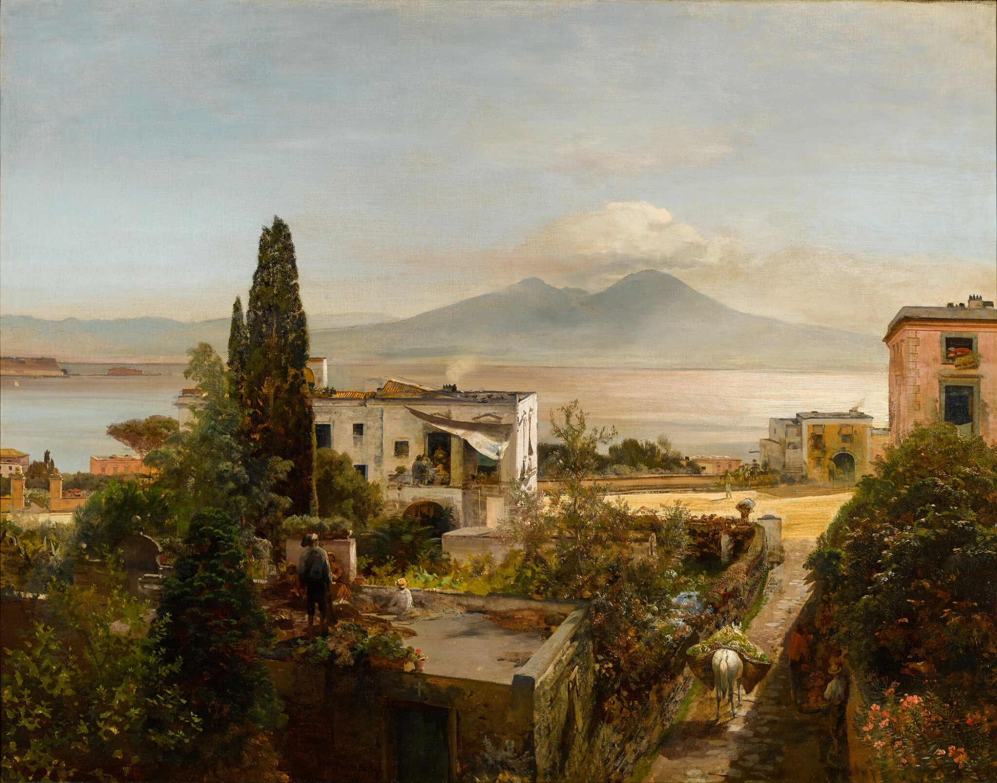 View full screen - View 1 of Lot 65. OSWALD ACHENBACH |  VIEW OF THE BAY OF NAPLES, WITH VESUVIUS BEYOND.