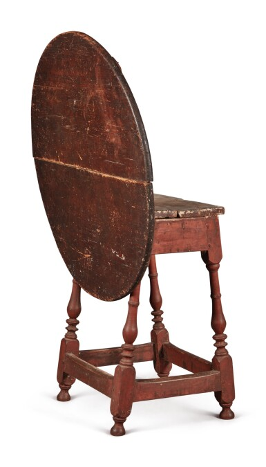 View 6. Thumbnail of Lot 1. William and Mary Red-Painted Maple and Pine Tilt-Top Tavern Table, New England, circa 1730.