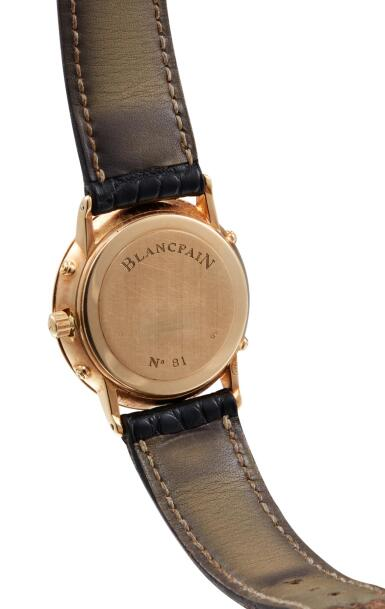 View 3. Thumbnail of Lot 8058. BLANCPAIN | VILLERET TRIPLE DATE,  A YELLOW GOLD TRIPLE CALENDAR WRISTWATCH WITH MOON PHASES, CIRCA 1995.
