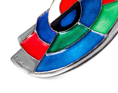 View 3. Thumbnail of Lot 10. Sonia Delaunay, Enamel and silver necklace [Collier émail et argent], 'Abstraction'.