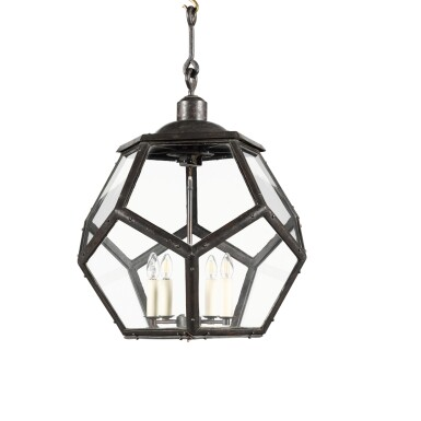 View 2. Thumbnail of Lot 116. A LARGE PATINATED BRASS LANTERN, EARLY 20TH CENTURY, IN THE MANNER OF ADOLF LOOS.
