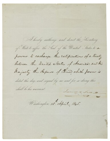 """View 1. Thumbnail of Lot 79. POLK, JAMES K. 