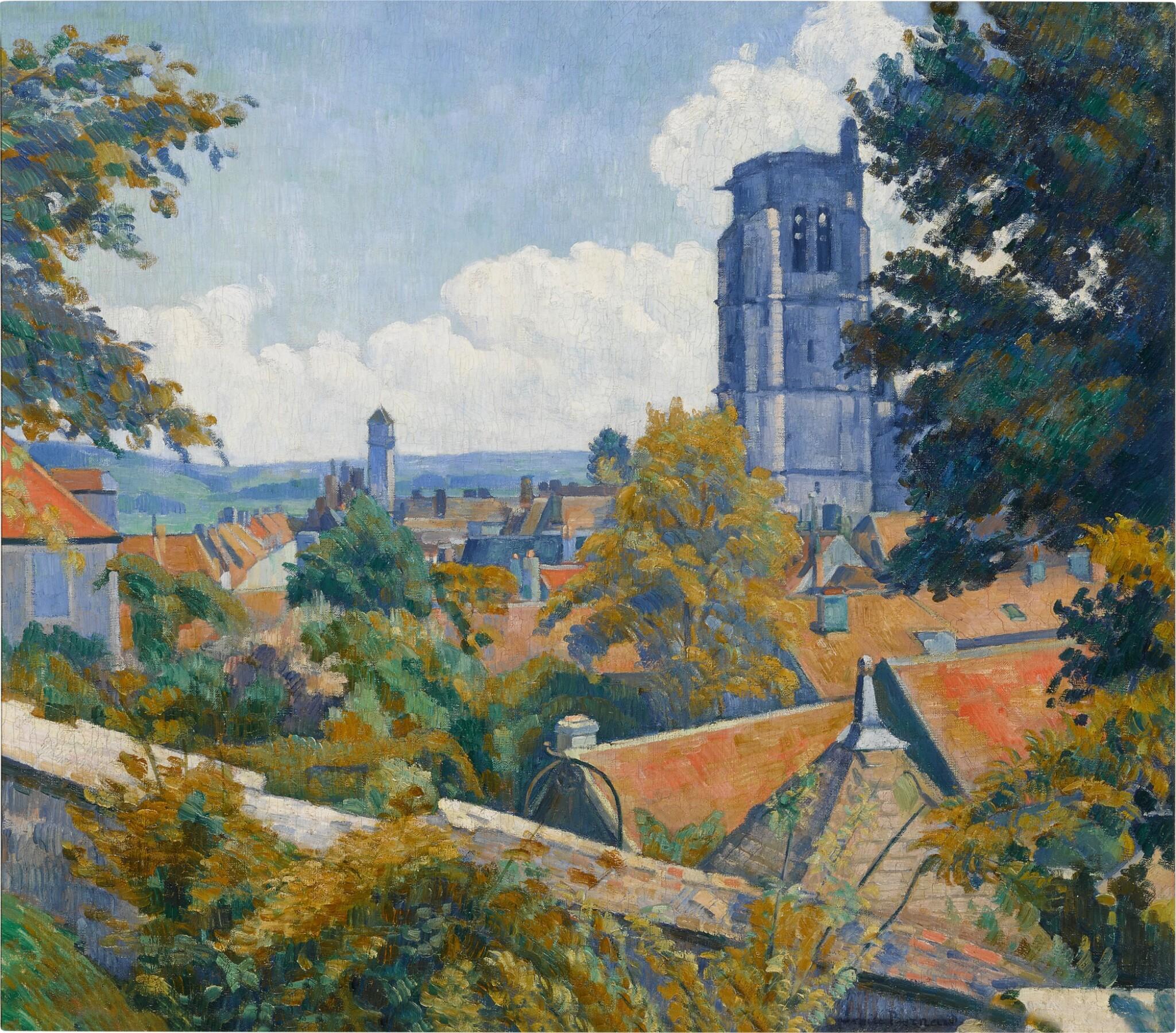 View full screen - View 1 of Lot 34. Vue sur Tonnerre avec l'église Notre Dame.