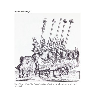 View 19. Thumbnail of Lot 9. WORKSHOP OF HANS BURGKMAIR THE ELDER | A 'TOURNAMENT BOOK', WITH 16 NUMBERED SHEETS OF DRAWINGS OF KNIGHTS, MOSTLY ON HORSEBACK, IN PAIRS .